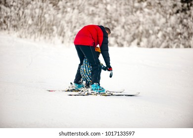 tourists ride in the ladders in the Carpathians, Ukraine, Transcarpathian region. Zhdenievo village, editorial. January 2017