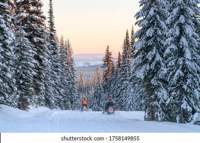 Tourists riding snowmobiles in snow, Sun Peaks Resort, Sun Peaks, British Columbia, Canada