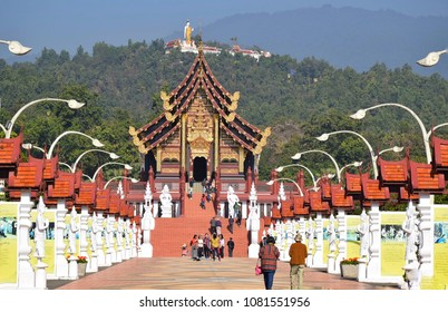 Tourists at Royal Pavilion, Royal Park Rajapruek, Chiang mai, thailand, December 2017