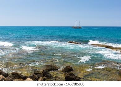 Tourists sailbot on the meditterien sea of Turkey.