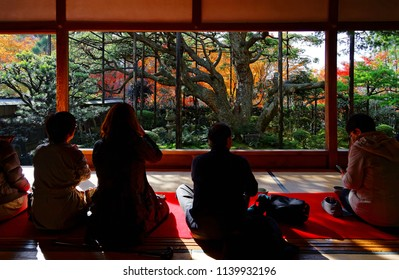 Tourists sit on the tatami floor of a tea room & enjoy the beautiful view of a Japanese courtyard garden with a pine & colorful maple trees in a peaceful Zen ambiance, in Hosen-in Temple, Kyoto, Japan