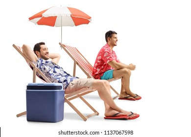 Tourists sitting in deck chairs isolated on white background