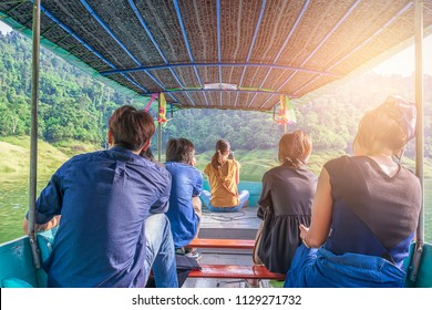 Tourists in small boat tours, thailand