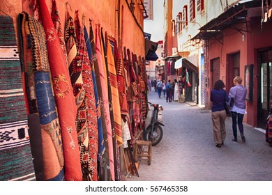 Tourists in the street of Marrakesh, Morocco