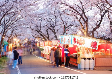 Tourists stroll in a temporary street market and stop by traditional snack stalls (Yatai) under cherry blossom trees that are lighted up at dusk in the Sakura Matsuri Festival, in Ogaki, Gifu, Japan