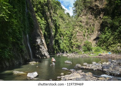 tourists travelling down pagsanjan river to the falls in laguna luzon philippines