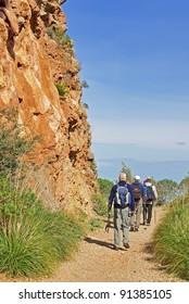 Tourists trekking in Majorca (Spain)
