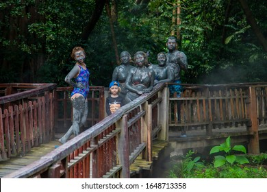 Tourists vacationing in the hot springs on Mount Borinken Costa Rica. Liberia. 2019