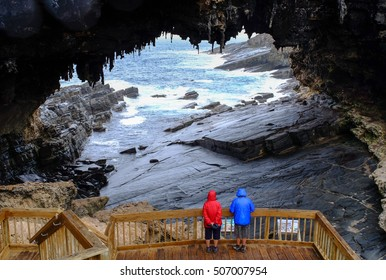 Tourists visit the cave of Admirals Arch on Kangaroo Island, South Australia.