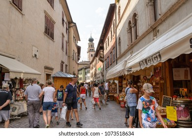 tourists visit the center of Levico Terme, a village in the Italian Alps , Italy ,  Trentino-Alto Adige/Südtirol region , photographed July 29.2017.