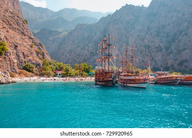 Tourists visit famous Butterfly Valley beach near Oludeniz
