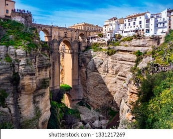 Tourists visit new bridge in Village of Ronda in Andalusia, Spain