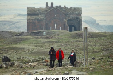 Tourists are visiting to the Ani antique city. Ani is a ruined medieval Armenian city situated in the Turkish province of Kars near the closed border with Armenia. KARS,TURKEY 14.03.2018