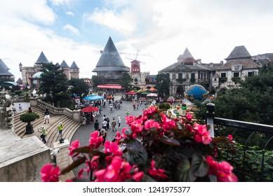 Tourists are visiting  Bana Hills, French village in Danang.Danang, Vietnam 16 Oct. 2018.