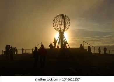 Tourists visiting the Globe in North cape (Nordkapp), Norway