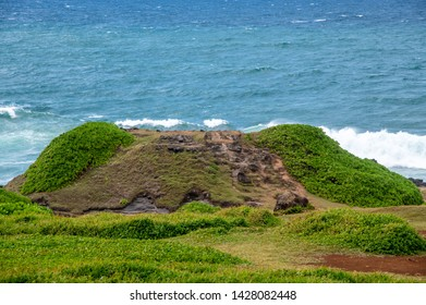Tourists visiting La Roche Qui Pleure, the rock who cries., Mauritius.