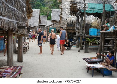 The tourists is visiting the Moken Village that is on beach in Surin Islands, Phangnga, Thailand on 29 December 2017