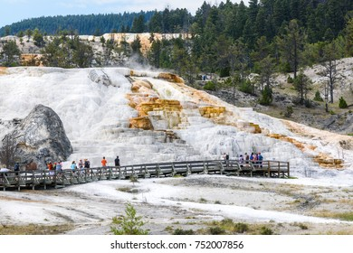 Tourists visiting Palette Spring Terrace at Mammoth Hot Springs in Yellowstone National Park
