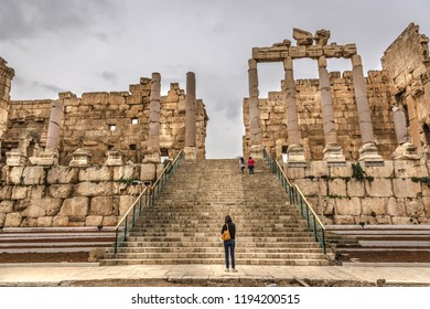 Tourists visiting the Rome ruins of Balbek in the interior of Lebanon, a Unesco Heritate Site.