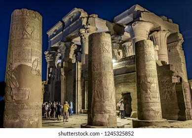 Tourists visiting the temple of Kom Ombo at night, Egypt, October 23, 2018