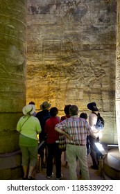 Tourists visiting the temples of Horus in Edfu