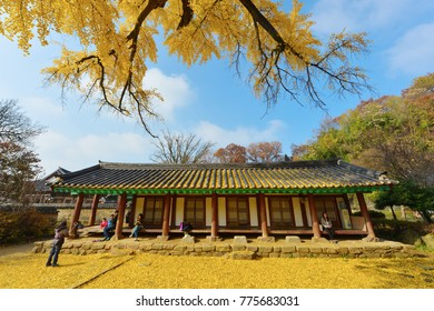 Tourists visiting Western house at the Jeonju Confucian School in Jeonju Korean House Village, South Korea on November 20, 2016.