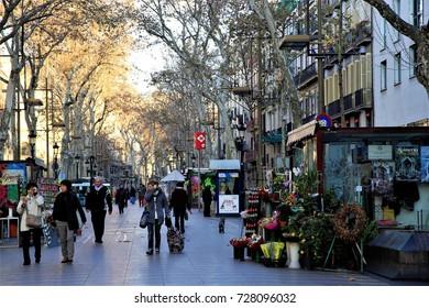 "Tourists walked along the popular place ""La Rambla"" in downtown Barcelona, Barcelona, Spain. Jan. 23, 2015"