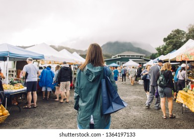 Tourists Walking Between Rows On Tropical Exotic Farmers Market Young