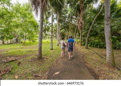 Tourists walking in Mauritius SSR Botanical Garden - Pamplemousses