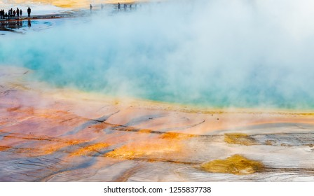 Tourists and Walkway at Edge of Grand Prismatic Spring