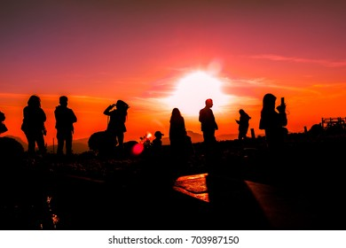 Tourists watch the sunrise on a beautiful morning.Phetchabun,Thailand,December 25,2016