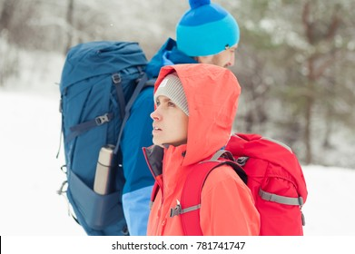 Tourists in the winter mountains tracking