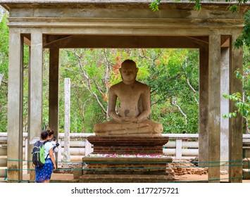 The Tourists Worshipping Samadhi Buddha Statue, Anuradhapura, Sri Lanka
