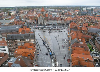 TOURNAI, BELGIUM - CIRCA MARCH 2017: View of buildings lining the Grand Place from above