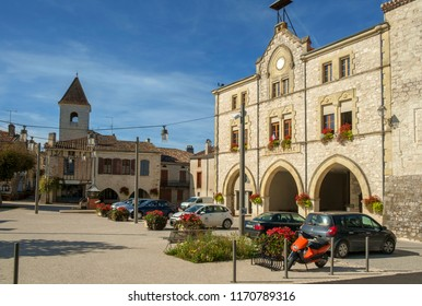 Tournon d'Agenais, Lot et Garonne, France - 27th September 2017: The town square is empty of people on a beautiful sunny autumn afternoon in rural Tournon d'Agenais, Lot et Garonne, France