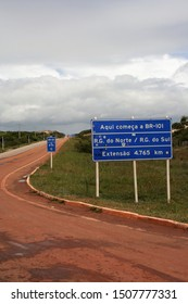 Touros - Rio Grande do Norte - Brazil - July 28, 2019. A road sign indicating the first kilometer of the BR 101.