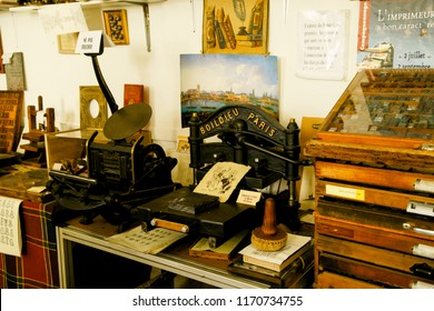 TOURS; FRANCE - 14 AUGUST 2018: typography museum interior with vintage printing press and old metallic letters
