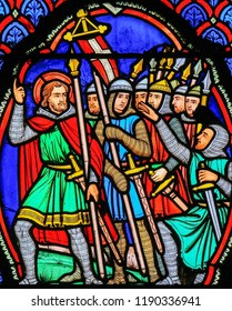 Tours, France - August 14, 2014: Stained glass window depicting Crusaders in the Cathedral of Tours, France.