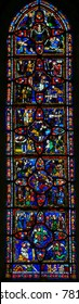 Tours, France - August 14, 2014: 13th Century Stained Glass in the Cathedral of Tours, France, depicting Scenes in the Life of Jesus Christ