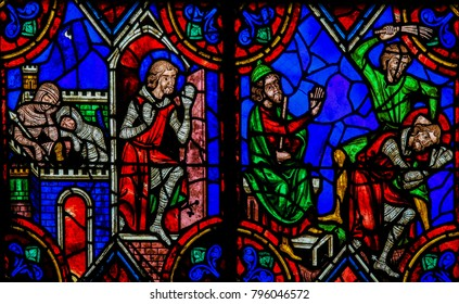 Tours, France - August 14, 2014: Stained Glass in the Cathedral of Tours, France, depicting Saint Maurice