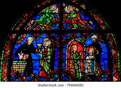 Tours, France - August 14, 2014: Stained Glass in the Cathedral of Tours, France.
