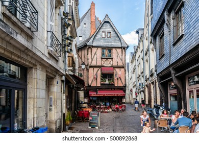TOURS, FRANCE - JULY 2, 2016: View of street in medieval city of Tours. Tours - city in central France, capital of the Indre-et-Loire department.