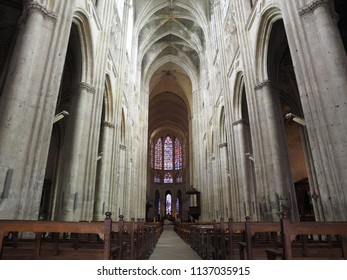 Tours, France -June 8, 2018. Cathedral of Saint Gatianus, detail. Interior church.