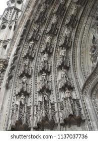 Tours, France -June 8, 2018. Cathedral of Saint Gatianus, detail. Exterior church.