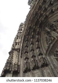Tours, France -June 8, 2018. Cathedral of Saint Gatianus, detail. Exterior church, entrance.