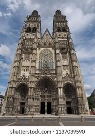 Tours, France -June 8, 2018. Cathedral of Saint Gatianus, exterior.