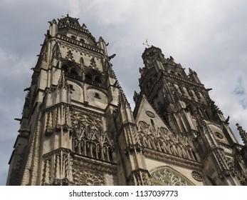 Tours, France -June 8, 2018. Cathedral of Saint Gatianus, facade detail.