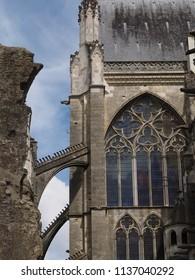 Tours, France -June 8, 2018. Cathedral of Saint Gatianus, exterior detail.