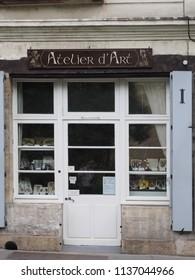 Tours, France - June 8, 2018. Artistic handicraft shop.