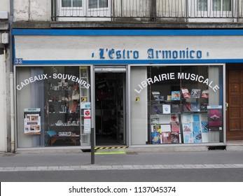 Tours, France - June 8, 2018. Library of sheet music and gift shop.